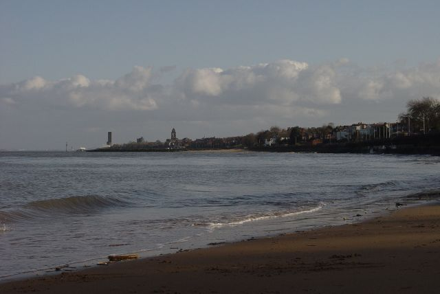 Looking along the northern coast of the Wirral. From New Brighton, to Seacombe, To Egremont, to Wallasey.