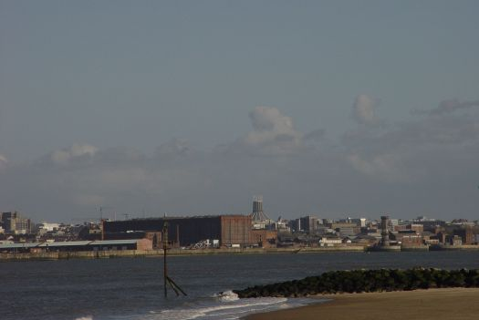 The Catholic Cathedral here, appearing to sit on the shoulders of the Stanley Dock.