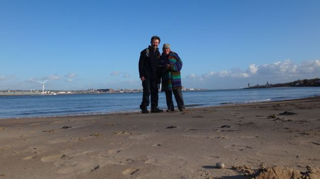 With Sarah, on the beach at New Brighton, April 2014.