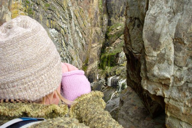 Looking at the ancient rocks.