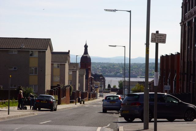 Looking down the hill, past The Florrie, to the river.