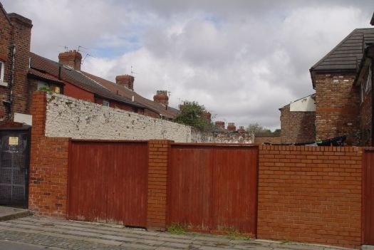 The yard at 48, 48a Alwyn Street. Could fit a fair few cows in there.