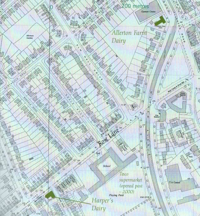 By 1954 Harper's Dairy is surrounded by housing. And Allerton Farm is now a dairy too.