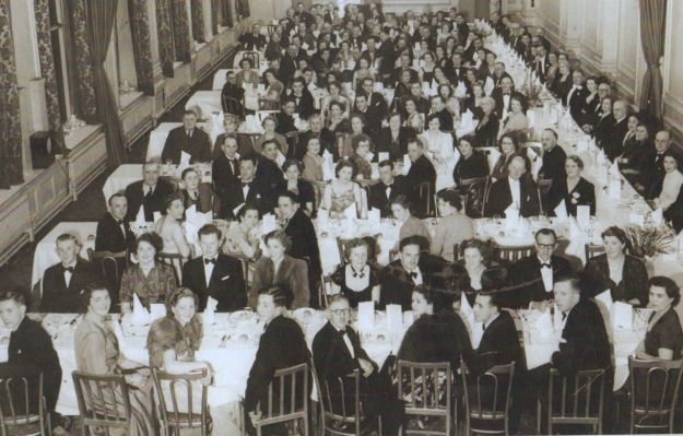 Liverpool Livestock Association Annual Dinner, 1952. Margaret Capstick second from left in the second row.