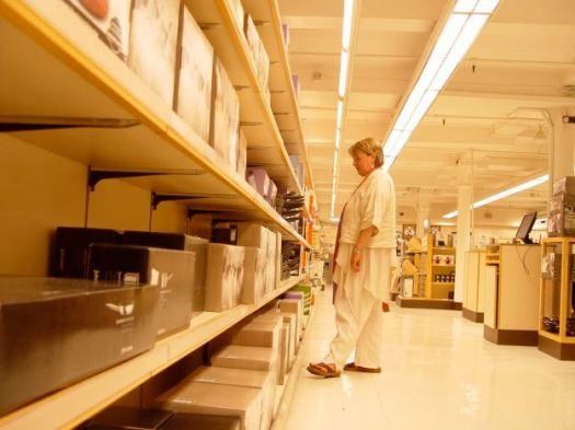 The shelves almost emptied. Sarah's final visit to her beloved 'Habi'