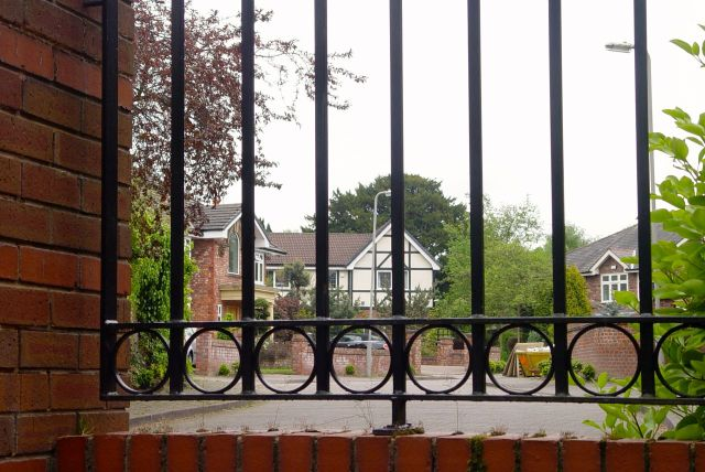 Not particularly formidable gates and fencing.