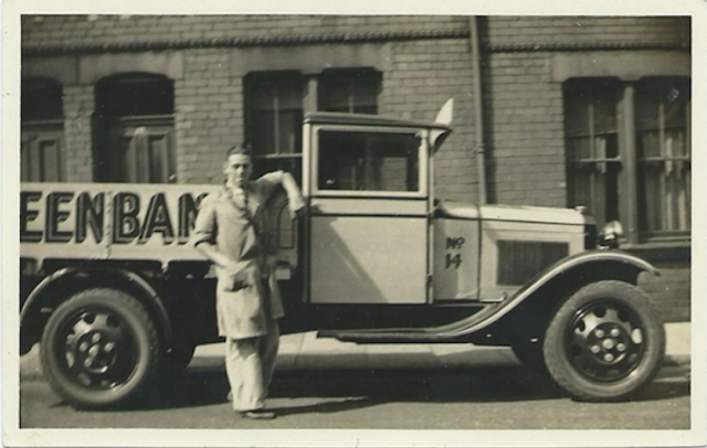 From blog reader Ray Smyth 'My father standing beside the lorry he drove for Greenbanks Dairy, Bedford Road, Bootle, approx 1936'