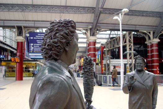 To the appointed meeting place next to Ken Dodd and Bessie Braddock in Lime Street Station.