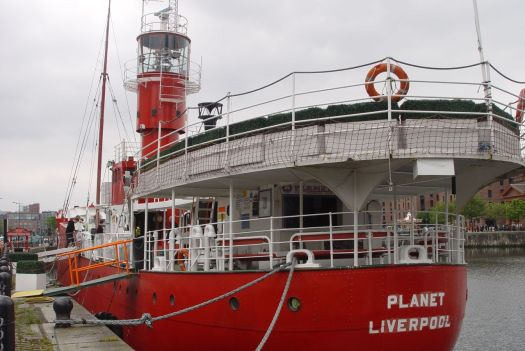 An enterprising idea. The old lightship has opened as a café.