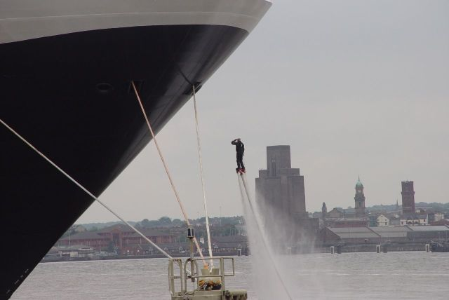 This is Jay St John and he appears to be saluting the ship.