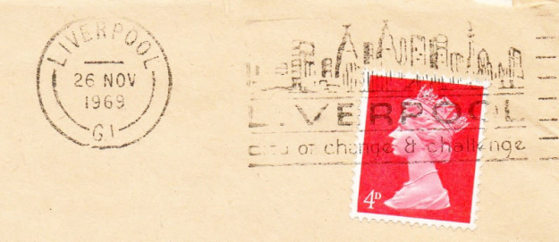 1960s postmark. 'Liverpool, City of change and challenge'