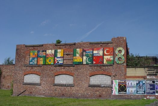 The wall of it being used for a big display of Liverpool 8 public art.