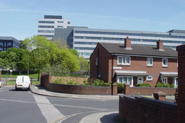 And John Moores University, seen from where Fontenoy Gardens used to stand.