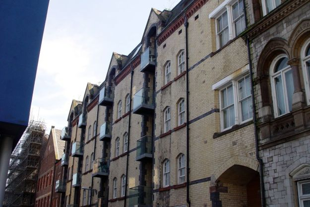 Into town. And just off Dale Street these splendid old flats.