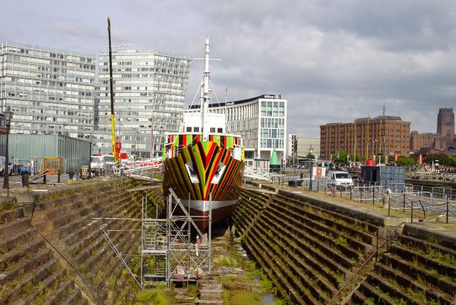 Being painted up in Canning Graving Dock, by Cammel Laird's workers.