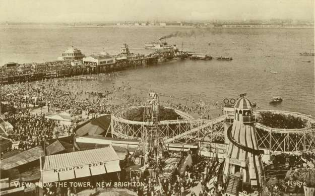 From where this picture of the funfair and pier was taken.
