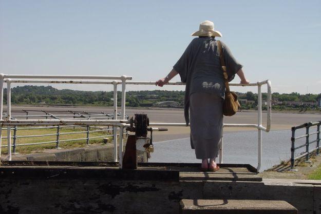 Sarah on Widnes Dock Gates.