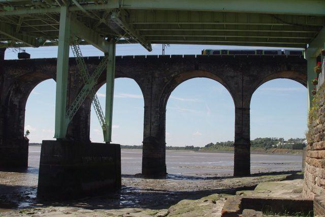 The 1961 road bridge and the 1868 rail bridge.