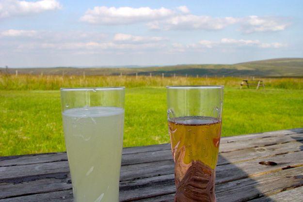 We drink our lemonades peacefully.