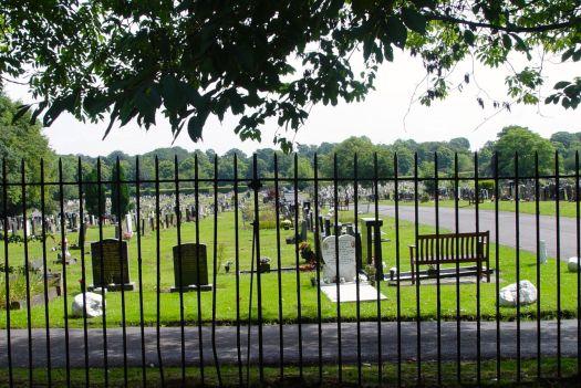 Walking through the cemetery.