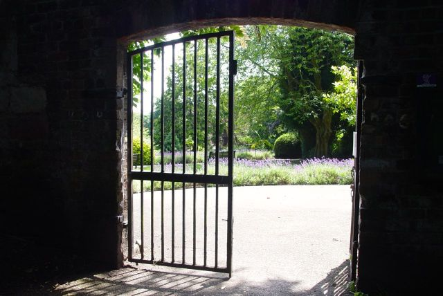 Peering through the gates of Woolton's walled garden.