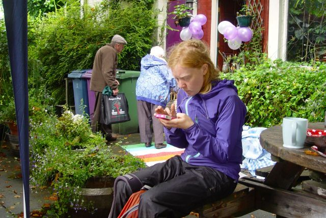 Gemma, one of the organisers, tweeting the news that the Market's still on despite the rain.