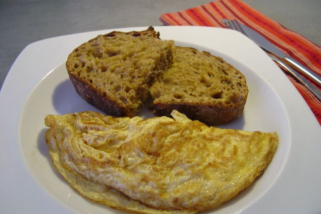 Omelette and bread.