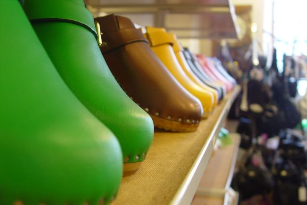 There are colourful clogs.