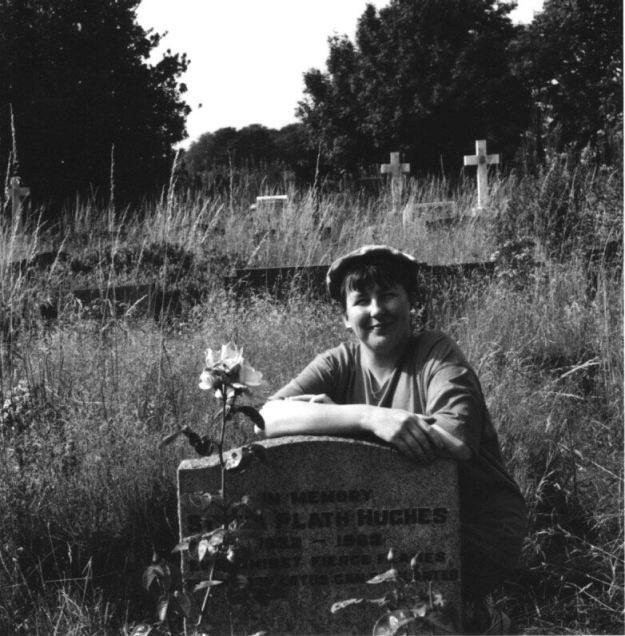 Sarah at Sylvia Plath's grave, 1994.