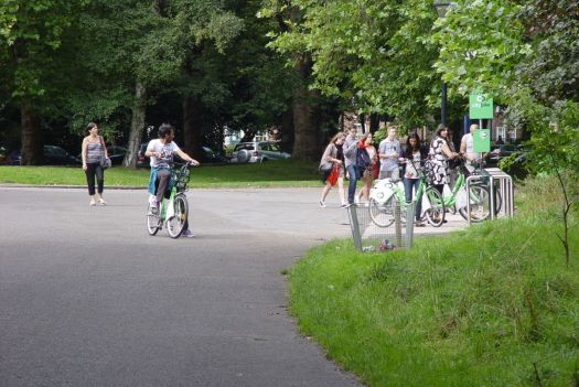 People are arriving on their City Bikes.