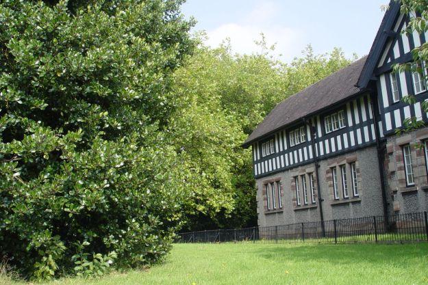 A mock Tudor building.