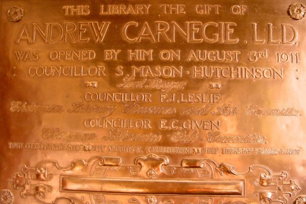 Given by Andrew Carnegie, designed by Thomas Shelmerdine.