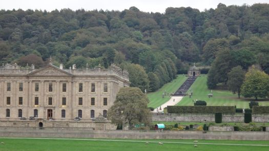 Driving through several miles of the Chatsworth Estate and crossing the River Derwent we finally arrive at the House itself.