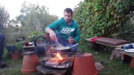 This is our great friend Bren, preparing the meal over an open fire.