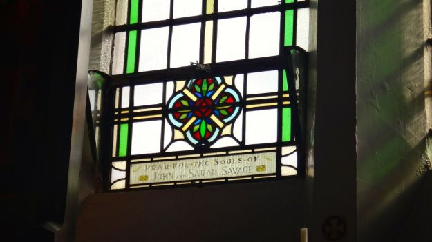 The whole place illuminated by lightly stained glass. Much of it clearly paid for by parishioners over the years.