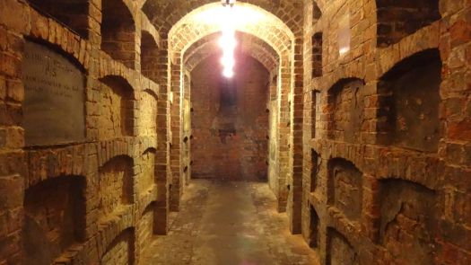 Between all the archways, and adding to the building's stability, are extra sections of brickwork where many bodies are buried.