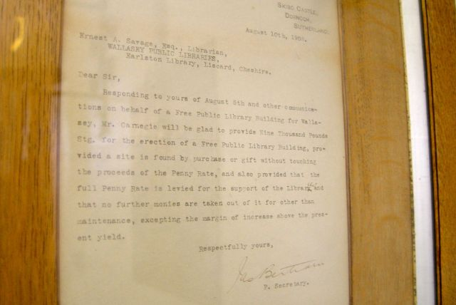 Finding this. The 1908 Andrew Carnegie letter that promised to pay for the place.