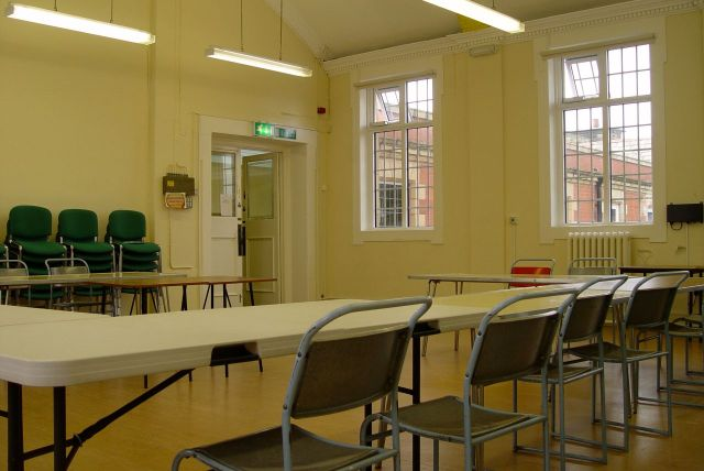 In these useful looking meeting rooms.
