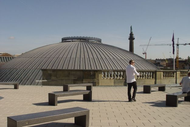 Out on the roof, that's the dome of the Picton Reading Room there.