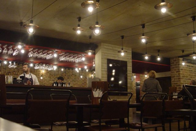 The new Bistro, with the new lights.