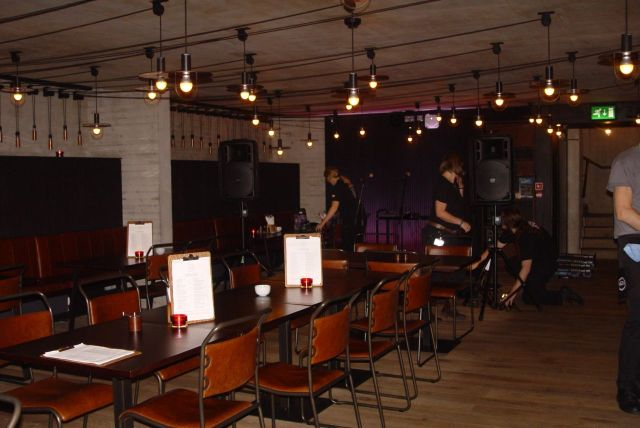 As I left a band were setting up. For the first of the new, regular Wednesday music evenings.