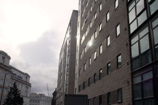 Just next to it, Liverpool's most brutally ugly buildings. Student housing, inevitably.