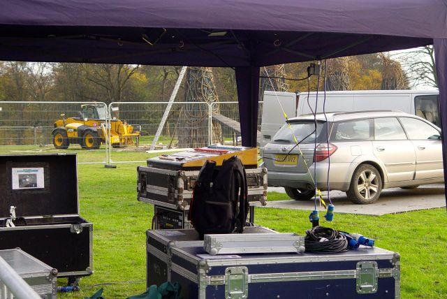 Sound equipment is being set up.