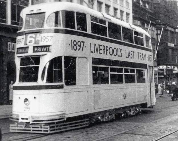And we sit in the window of Clark's shoe Shop and watch the last tram go by.