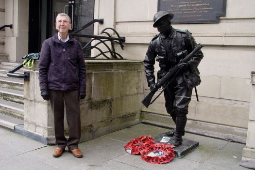 Outside Derby House now, with memories of war.