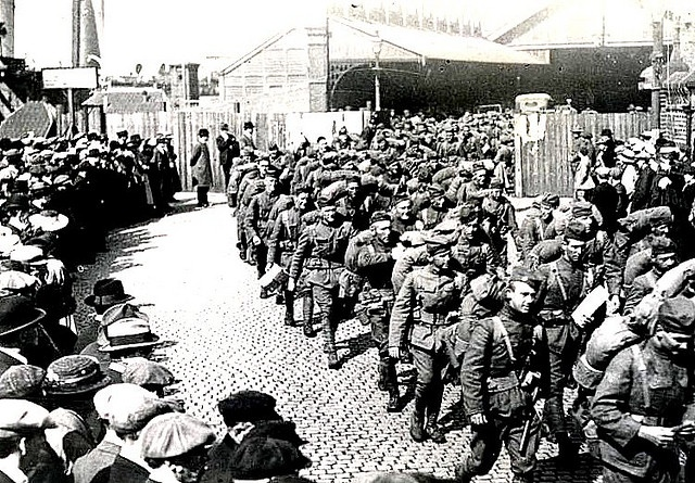American Troops, marching out of Princes Dock.
