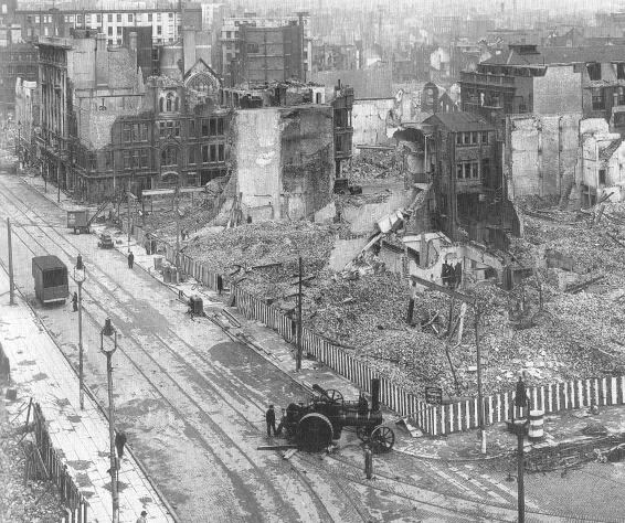 The ruins of Lord Street and the roads beyond.