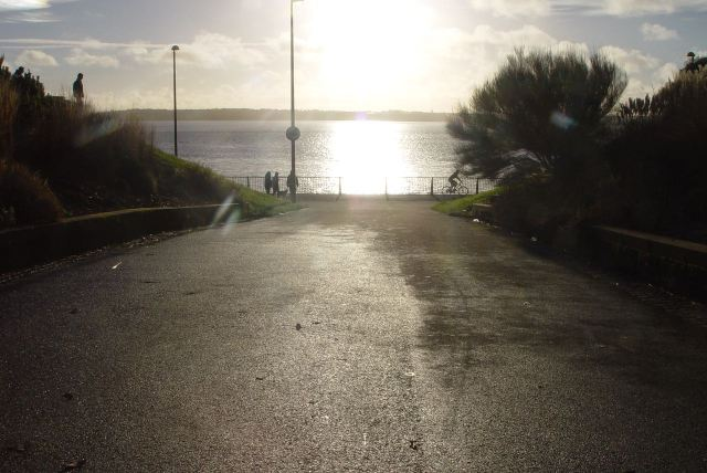 Walking across the levée down to the Mersey.