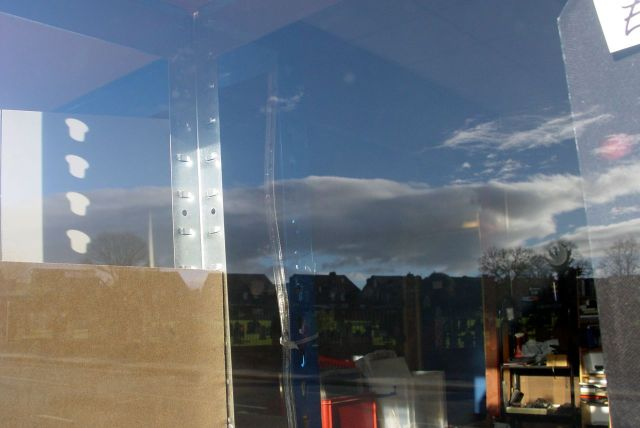 And sunny reflections in the window of one of the few shop left open. 'All Kinds' - second hand CD', DVDs and, well, what have you got?