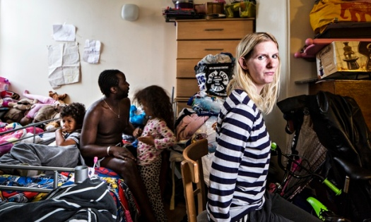 Stacey Thomas and her family in England's Lane Hostel. From The Guardian article.